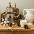 Vintage still life with Christmas decoratons — Stock Photo