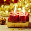 Stock Photo: Candles over bokeh background