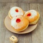 Donut for jewish holiday hanukkah — Stock Photo
