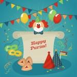 Poster Jewish holiday Purim — Stock Vector