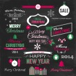 Christmas set of elements on chalkboard — Stock Vector