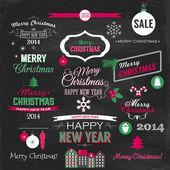Christmas set of elements on chalkboard — Stock Vector