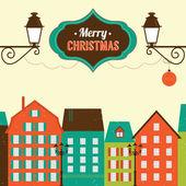 Tarjeta de felicitación de navidad vintage — Vector de stock