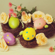 Stock Photo: Easter eggs in bird nest