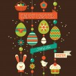 Easter holiday flat background. — Stock Vector