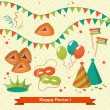 Jewish holiday Purim set — Stock Vector
