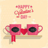 Valentine's day greeting card with couple of cups — Stock Vector