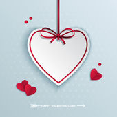 Valentine's day background with hanging paper heart. — Stock Vector