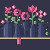 Tarjeta de felicitación del día de San Valentín con flores — Vector de stock