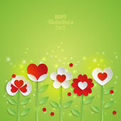 Valentine's day background with paper flowers. — Stock Vector