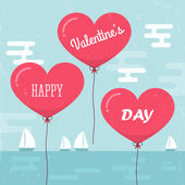 Valentine's day background with heart shape balloons. — Stock Vector