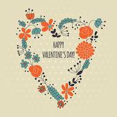 Hjärta form tillverkad av blommor — Stockvektor