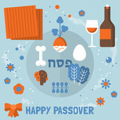 Jewish Passover holiday symbols — Vector de stock