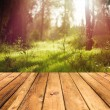 Wooden floor terrace — Foto Stock