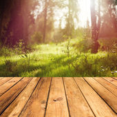 Wooden floor terrace — Stock Photo
