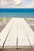 Nautical background with wooden deck — Stock Photo