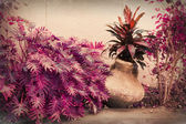 Vintage grunge background with plants — Stock fotografie