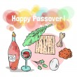 Stock Vector: Jewish holiday passover doodles symbols.
