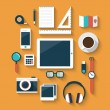 Set of office various objects and equipment — Stock Vector