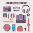 Stock Vector: Icons set of organized everyday objects