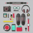 Icons set of organized everyday objects — Stock Vector #42383945