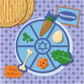 Jewish passover holiday elements — Stok Vektör