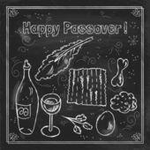 Jewish holiday Passover doodles symbols — Stock Vector