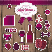 Jewish holiday Passover elements — Vector de stock