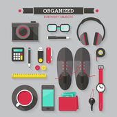 Icons set of organized everyday objects — Stock Vector