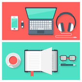 Icons set of online education and studying objects — Stock Vector