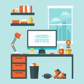 Modern home office interior — Stock Vector