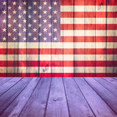 Wooden deck USA flag — Stock Photo
