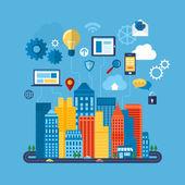 Global communication and navigation concept — Stockvektor