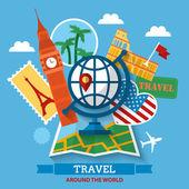 Travel around the world concept — Stock Vector