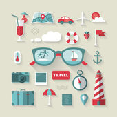 Travel and tourism flat icons set. — Stock Vector