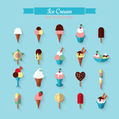 Flat icons of ice cream — Stock Vector