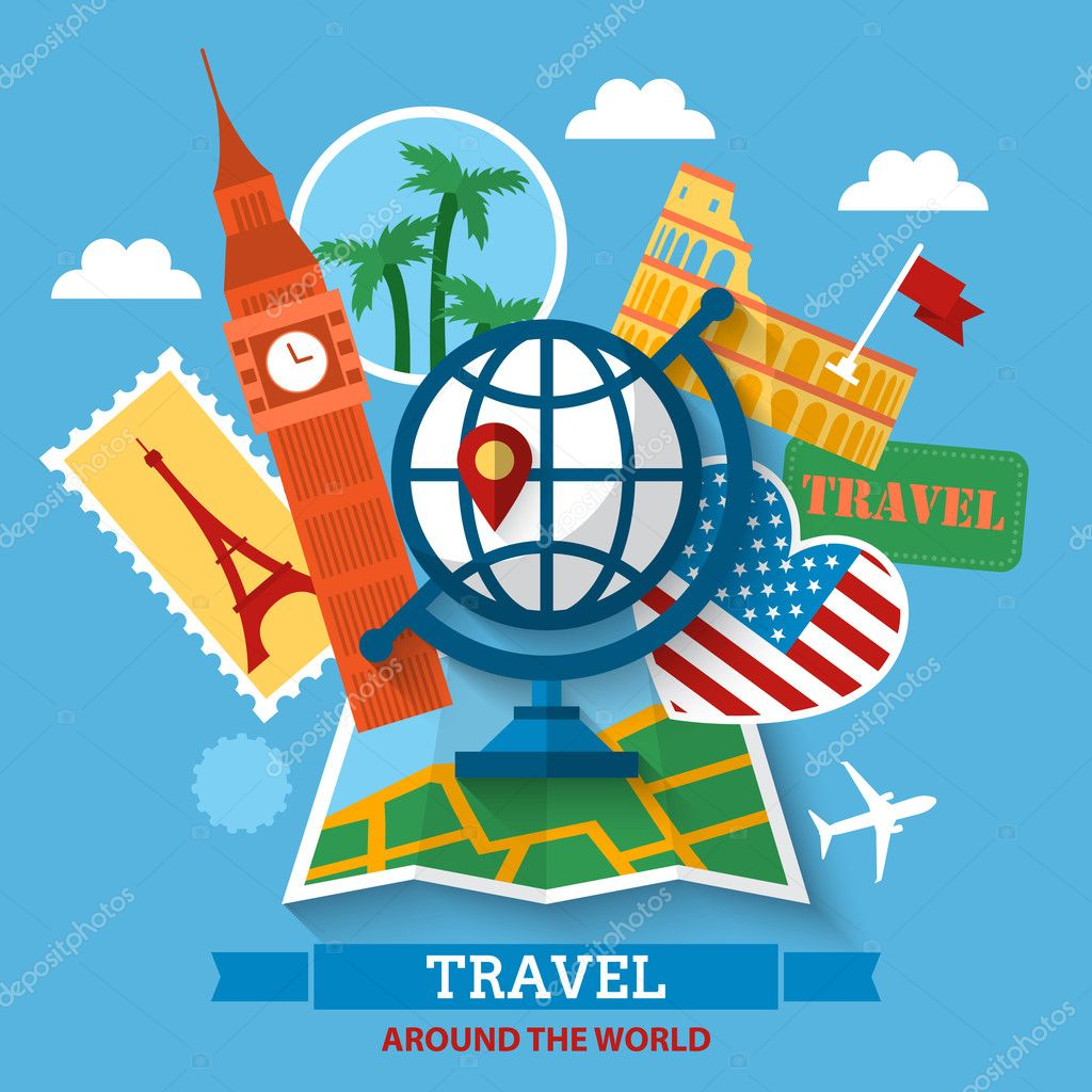 Travel around the world concept stock vector maglara for All around the world cruise