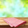 Empty deck table with tablecloth — Stock Photo #46813093