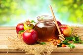 Honey, apple and pomegranate — Stock Photo