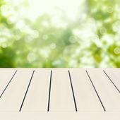 Empty wooden white table — Stock Photo
