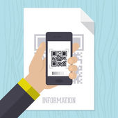 Scanning QR code with mobile smart phone — Stock Vector