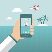 Smartphone snapshot during summer holiday vacation — Stock Vector