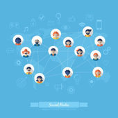 Icons for social media and network connection — Stock Vector