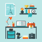 Flat design of modern home office — Vettoriale Stock
