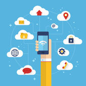 Connected mobile phone with cloud computing — Stock Vector