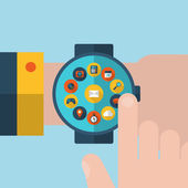 Smart watch or wearable on hand — Stock Vector