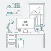 Illustration of home office desk — Stock Vector