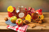 Table arrangement for Jewish New Year Holiday — Stock Photo