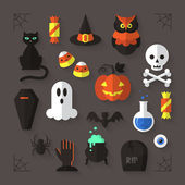 Flat modern icons for Halloween holiday — Stock Vector