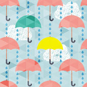 Seamless pattern with umbrella and rain — Stock Vector